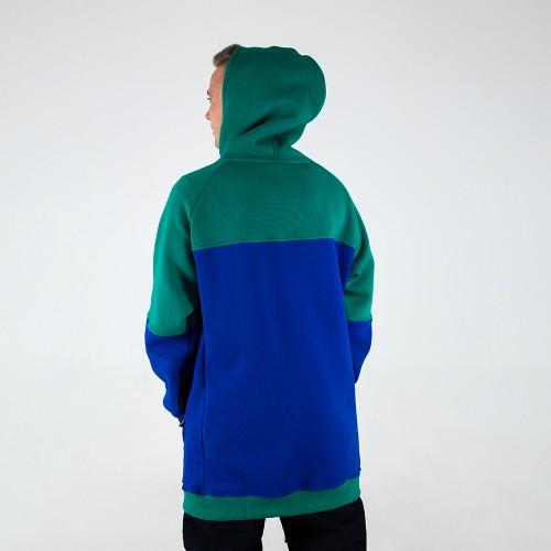 Толстовка удлиненная Intro Hoodie green/dark blue