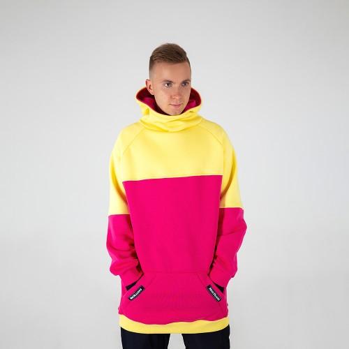 Толстовка удлиненная Intro Hoodie yellow/pink