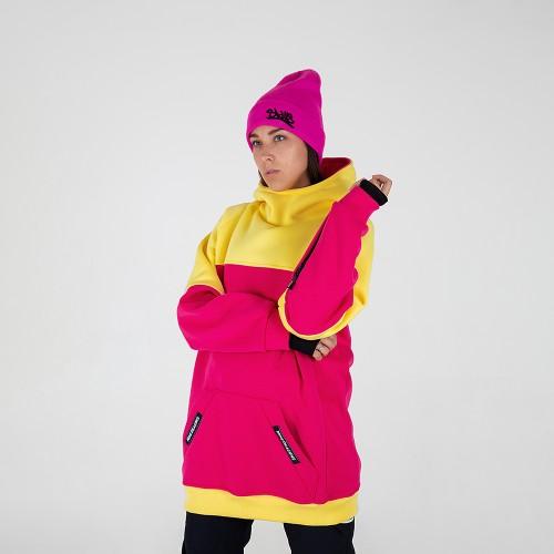 Толстовка удлиненная Intro ws Hoodie yellow/pink