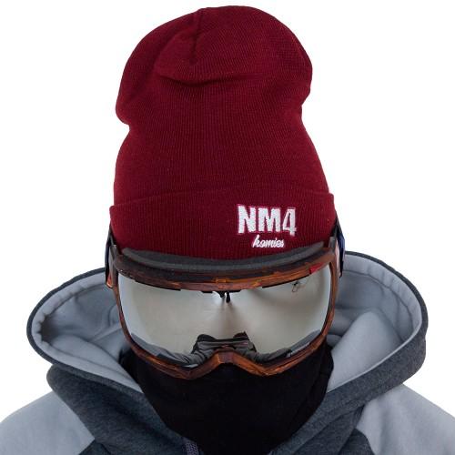 Шапка NM4 Logo Beanie bordo/white