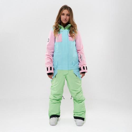 Комбинезон для сноуборда и лыж женский Cool Zone Flex 19/20 св.розовый/аквамарин/фисташковый