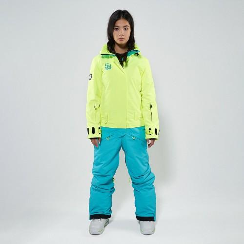 Комбинезон для сноуборда и лыж женский Cool Zone Twin 19/20 салатовый/бирюзовый