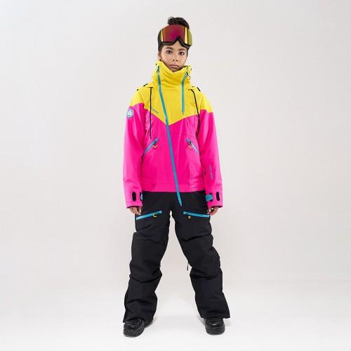 Комбинезон для сноуборда и лыж женский Cool Zone Kite 19/20 желтый/цикломеновый/черный