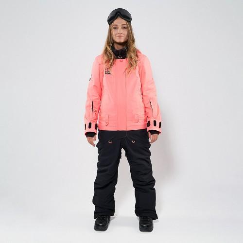 Комбинезон для сноуборда и лыж женский Cool Zone Twin 19/20 коралловый/черный
