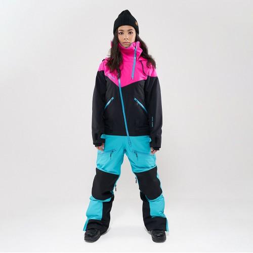Комбинезон для сноуборда и лыж женский Cool Zone Kite 19/20 цикламеновый/черный/бирюзовый