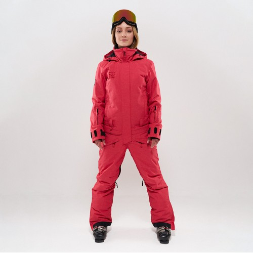 Комбинезон для сноуборда и лыж женский Cool Zone Twin One Color 19/20 красный джинс