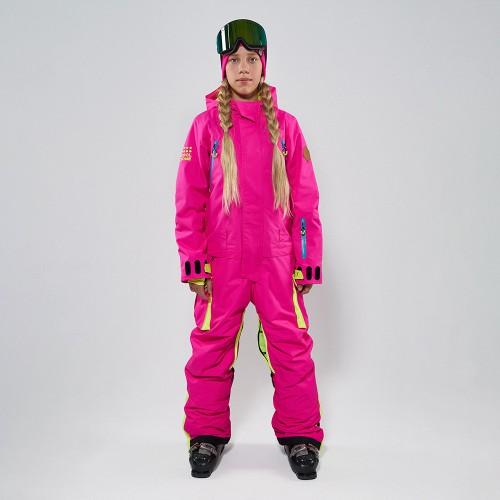 Комбинезон для сноуборда и лыж детский CoolZone Fun Teens 19/20 цикламеновый/салатовый