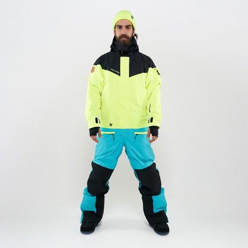 Комбинезон для сноуборда с лыж мужской Cool Zone Iron 19/20 черный/салатовый/бирюзовый