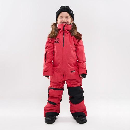 Комбинезон для сноуборда и лыж детский CoolZone Ice Kids 19/20 красный джинс