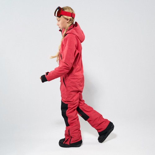Комбинезон для сноуборда и лыж детский CoolZone Ice Teens 19/20 красный джинс