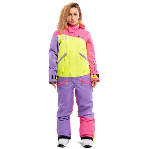 Комбинезон для сноуборда и лыж женский Cool Zone Womens Mix 18/19, цикламен/салат/фиолет меланж