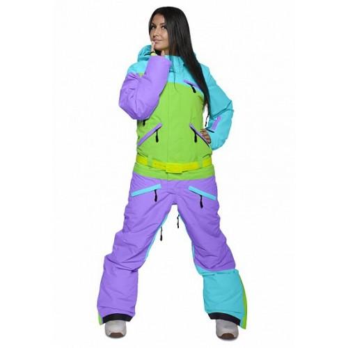 Комбинезон женский для сноуборда Cool Zone Womens Suit 16/17, бирюза/лайм/фиолет