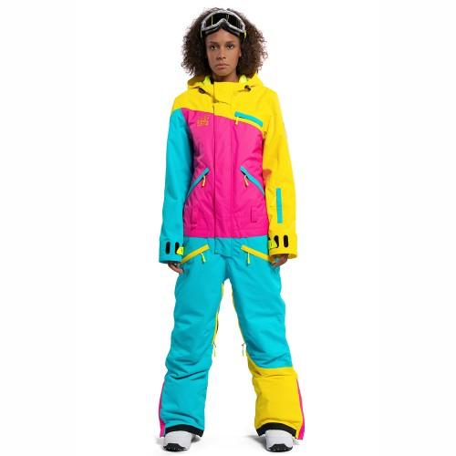 Комбинезон для сноуборда и лыж женский Cool Zone Womens Mix 18/19, желтый/цикламен/бирюза