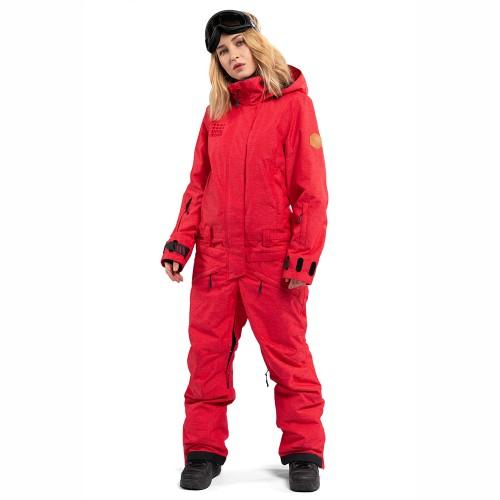 Комбинезон для сноуборда и лыж женский Cool Zone Womens Twin One Color Denim 18/19, красный джинс