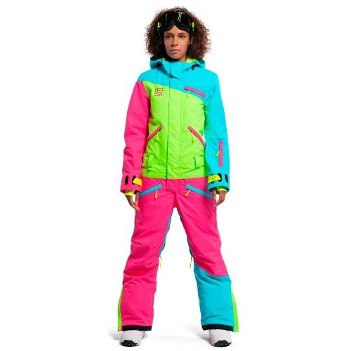 Комбинезон для сноуборда и лыж женский Cool Zone Womens Mix 18/19, бирюза/лайм/цикламен