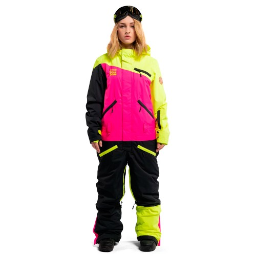 Комбинезон для сноуборда и лыж женский Cool Zone Womens Mix 18/19, салат/цикламен/черный