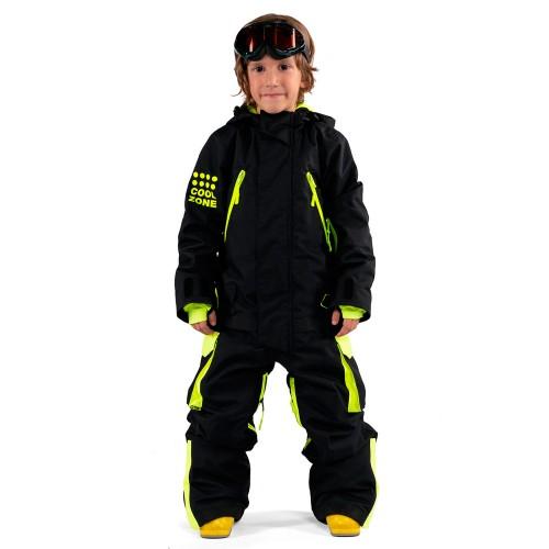 Комбинезон для сноуборда детский Cool Zone Fun Kids 18/19, черный/салатовый дино