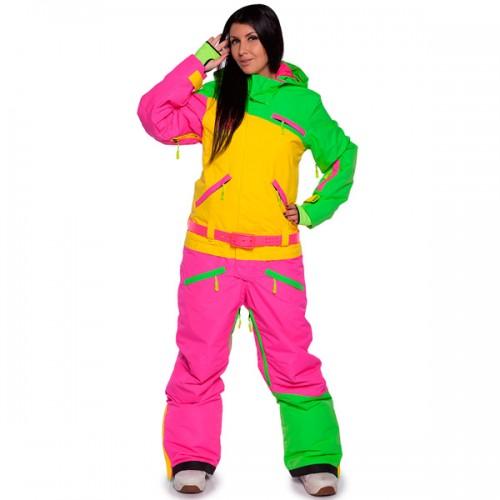 Комбинезон женский для сноуборда и лыж Cool Zone Womens Suit 16/17, лайм/желтый/цикломен